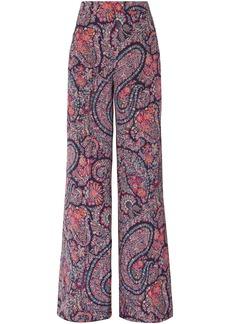 Etro Woman Printed Silk Crepe De Chine Wide-leg Pants Black