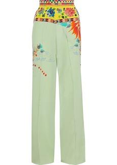 Etro Woman Printed Silk Crepe De Chine Wide-leg Pants Light Green