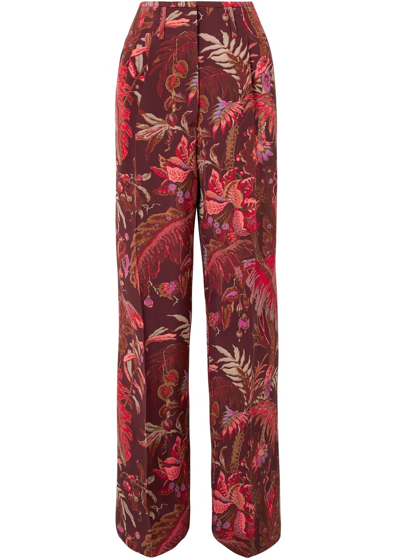 Etro Woman Printed Silk-crepe Wide-leg Pants Merlot