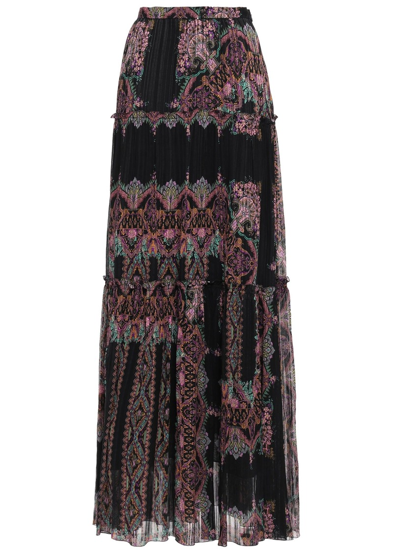 Etro Woman Printed Silk-georgette Maxi Skirt Black