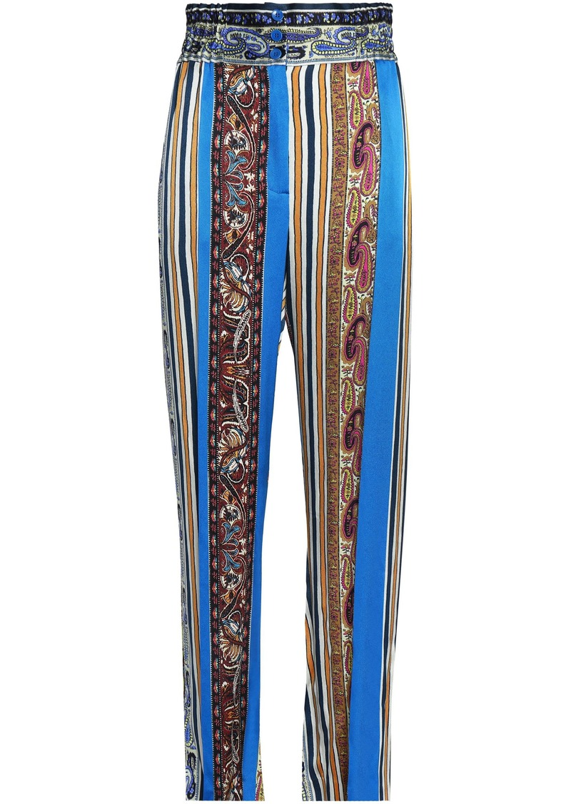 Etro Woman Printed Silk-faille Straight-leg Pants Multicolor