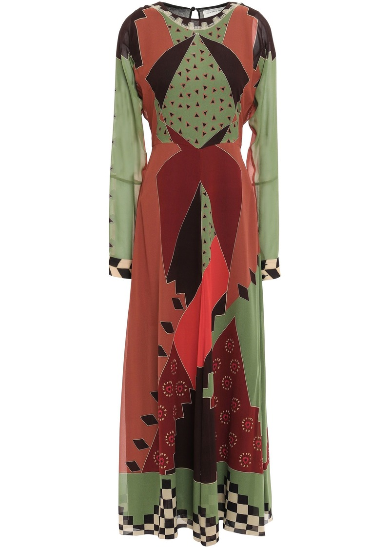 Etro Woman Printed Silk-georgette Maxi Dress Army Green
