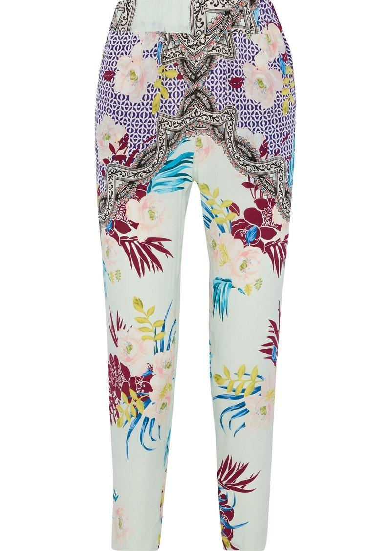 Etro Woman Printed Silk Slim-leg Pants Multicolor