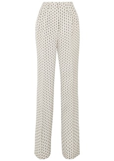 Etro Woman Printed Silk Straight-leg Pants Off-white