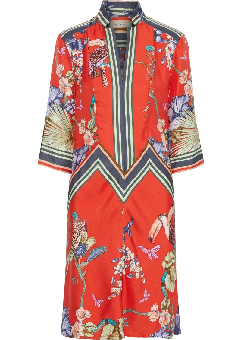 Etro Woman Printed Silk-twill Dress Bright Orange