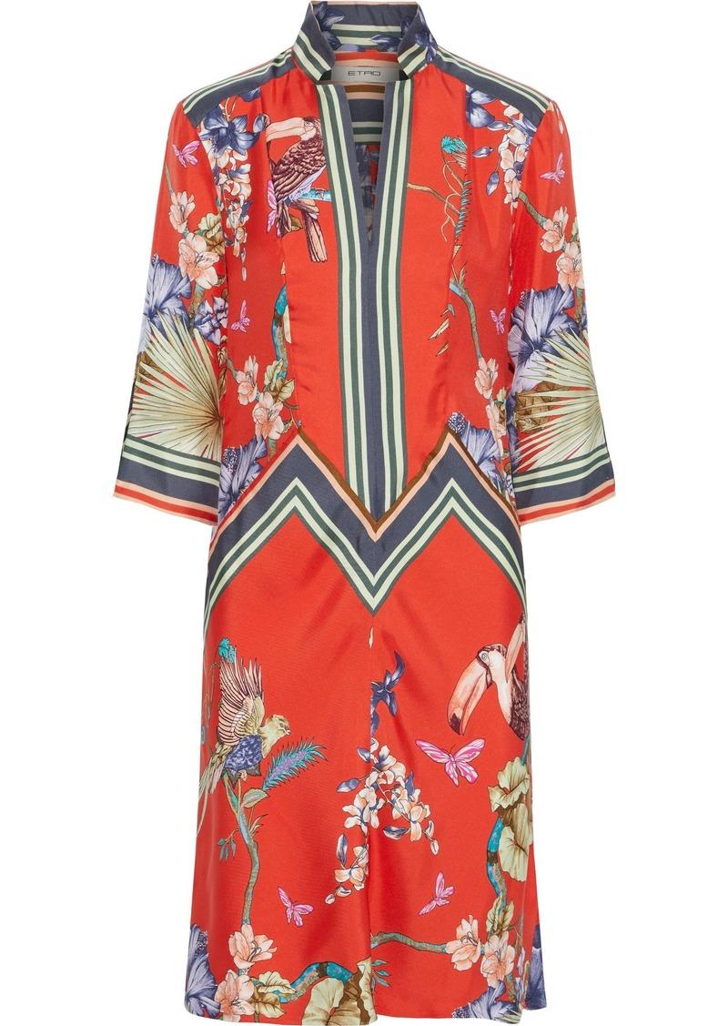 Etro Woman Printed Silk-twill Dress Bright Orange