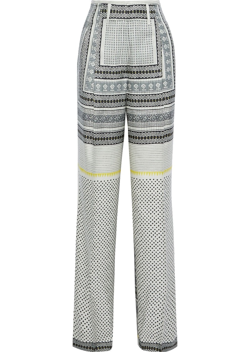 Etro Woman Printed Silk-twill Wide-leg Pants Multicolor