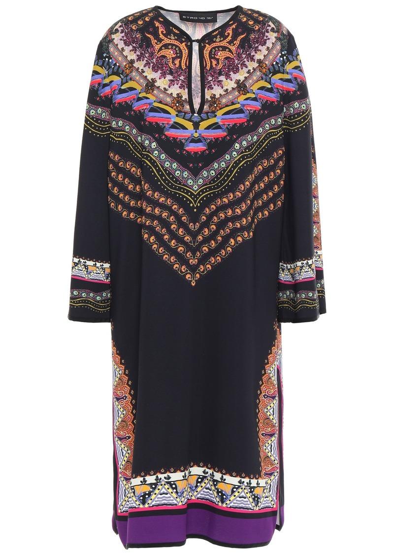 Etro Woman Printed Stretch-crepe Dress Black