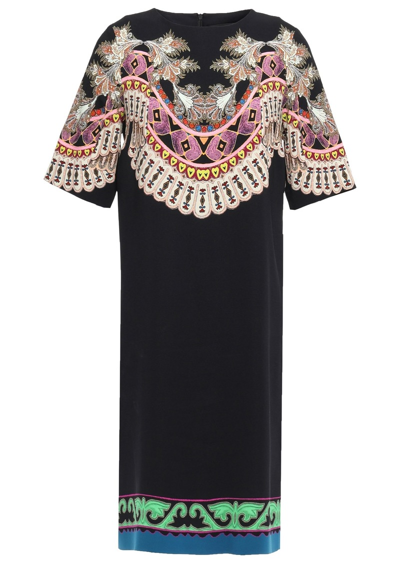 Etro Woman Printed Stretch-crepe Dress Black