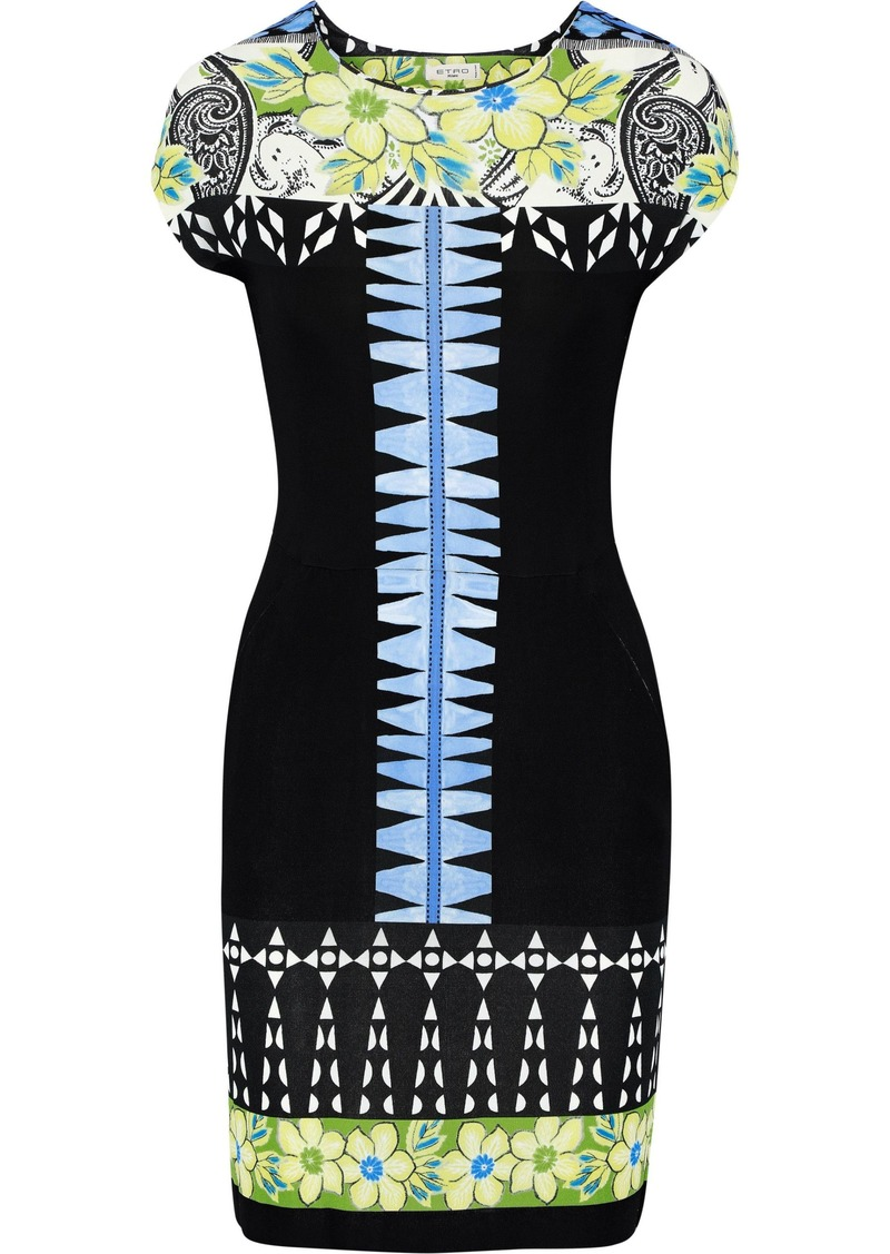 Etro Woman Printed Stretch-crepe Mini Dress Black