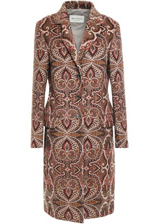Etro Woman Printed Wool-blend Coat Taupe