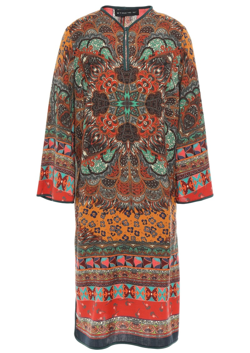Etro Woman Printed Wool-crepe Dress Green
