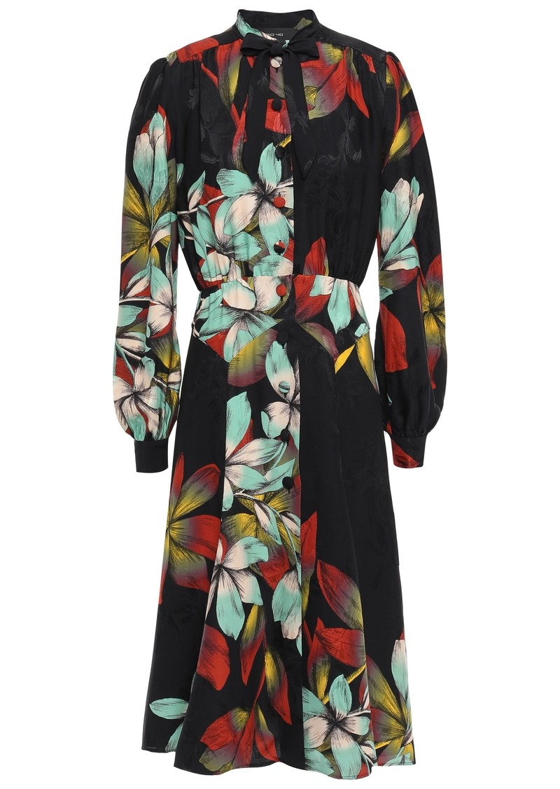 Etro Woman Pussy-bow Floral-print Satin-jacquard Midi Dress Black