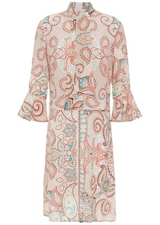 Etro Woman Pussy-bow Printed Silk Crepe De Chine Dress Coral