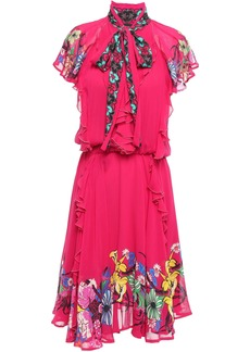 Etro Woman Pussy-bow Ruffled Floral-print Georgette Dress Bright Pink