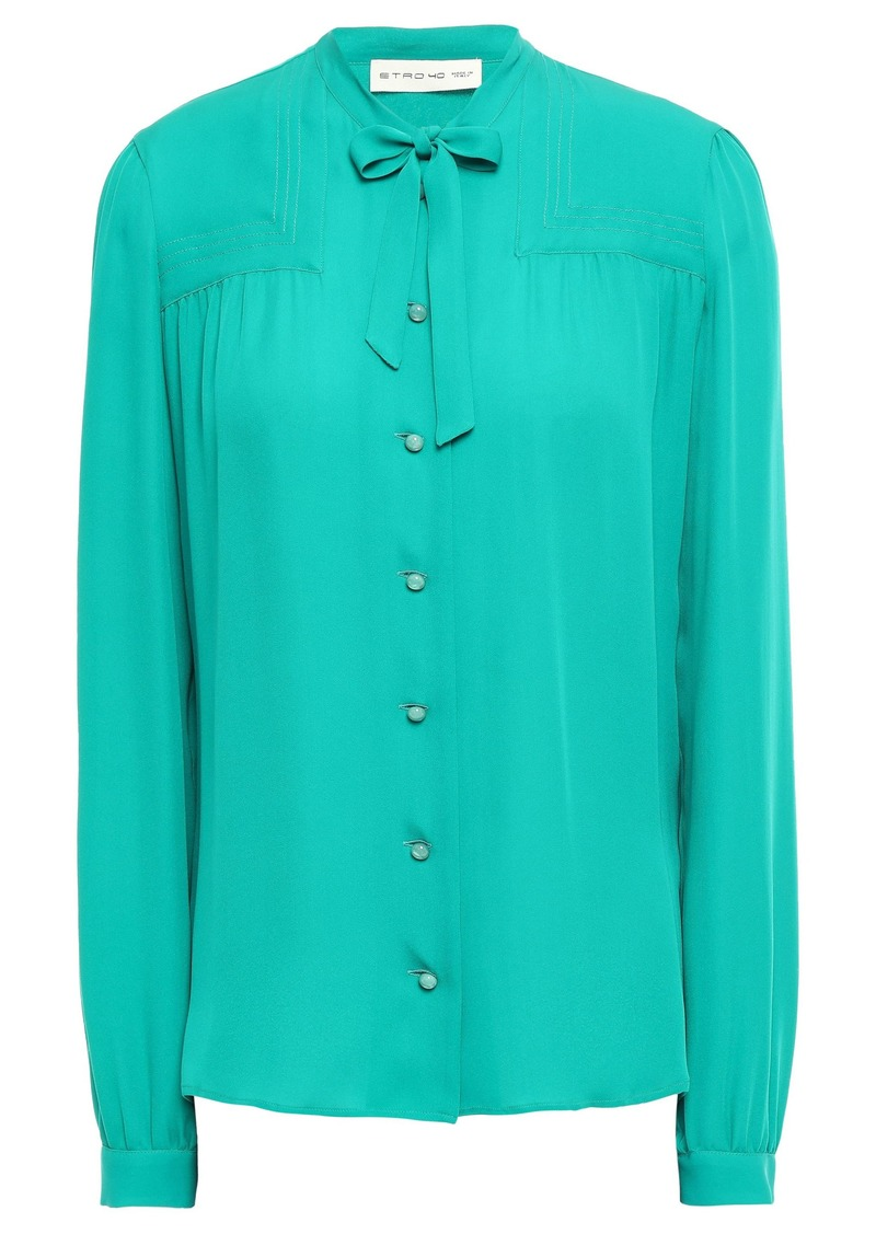 Etro Woman Pussy-bow Silk Crepe De Chine Blouse Teal