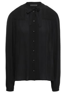 Etro Woman Pussy-bow Silk Crepe De Chine Blouse Black