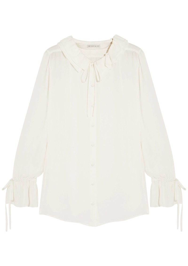 Etro Woman Ruffle-trimmed Silk Blouse White
