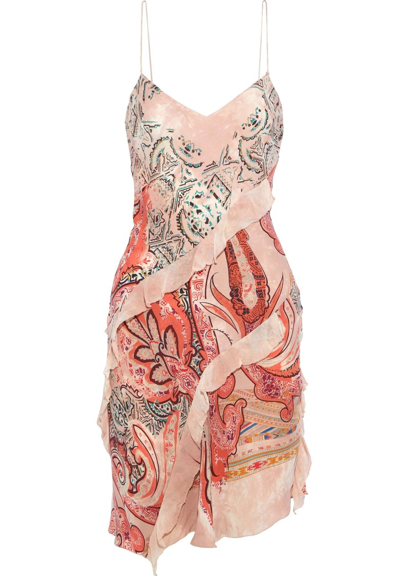 Etro Woman Ruffled Georgette-trimmed Printed Crepe De Chine Slip Dress Blush