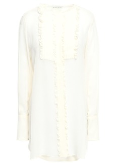 Etro Woman Ruffled Pintucked Silk-crepe Blouse Ivory