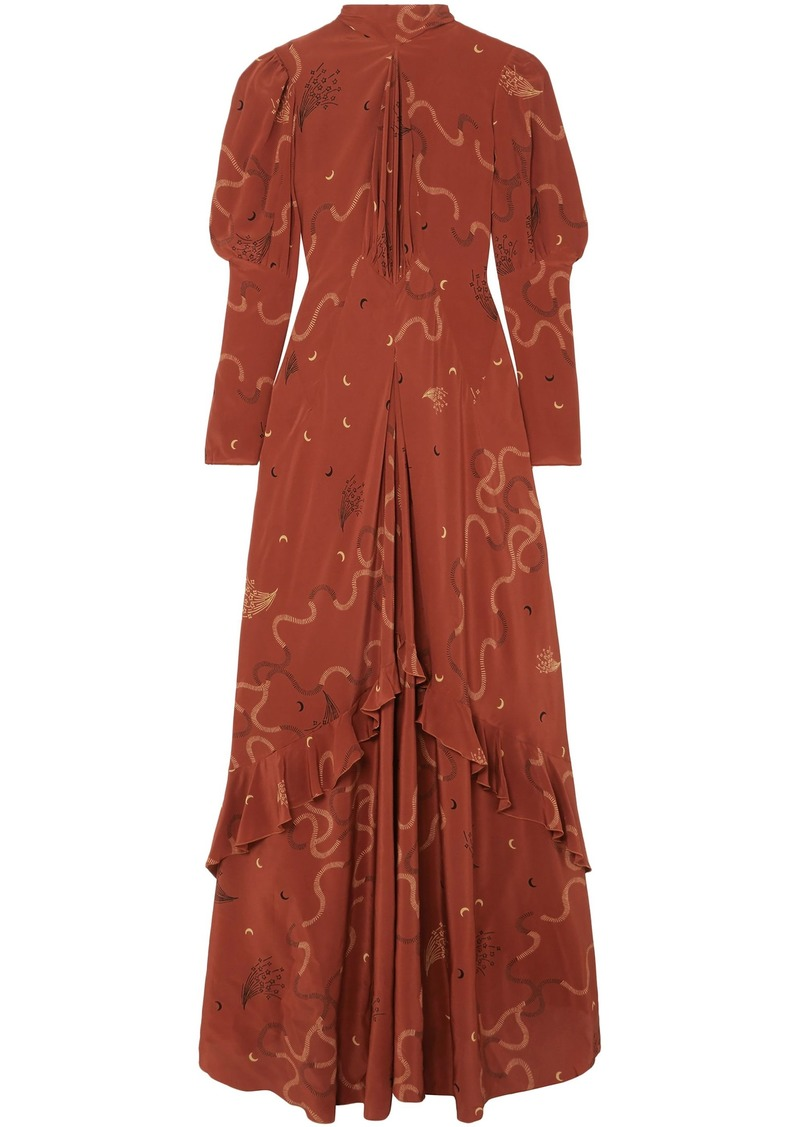 Etro Woman Ruffled Printed Silk-chiffon Maxi Dress Tan