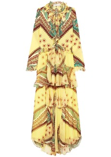 Etro Woman Ruffled Printed Silk-crepon And Crepe De Chine Maxi Dress Yellow