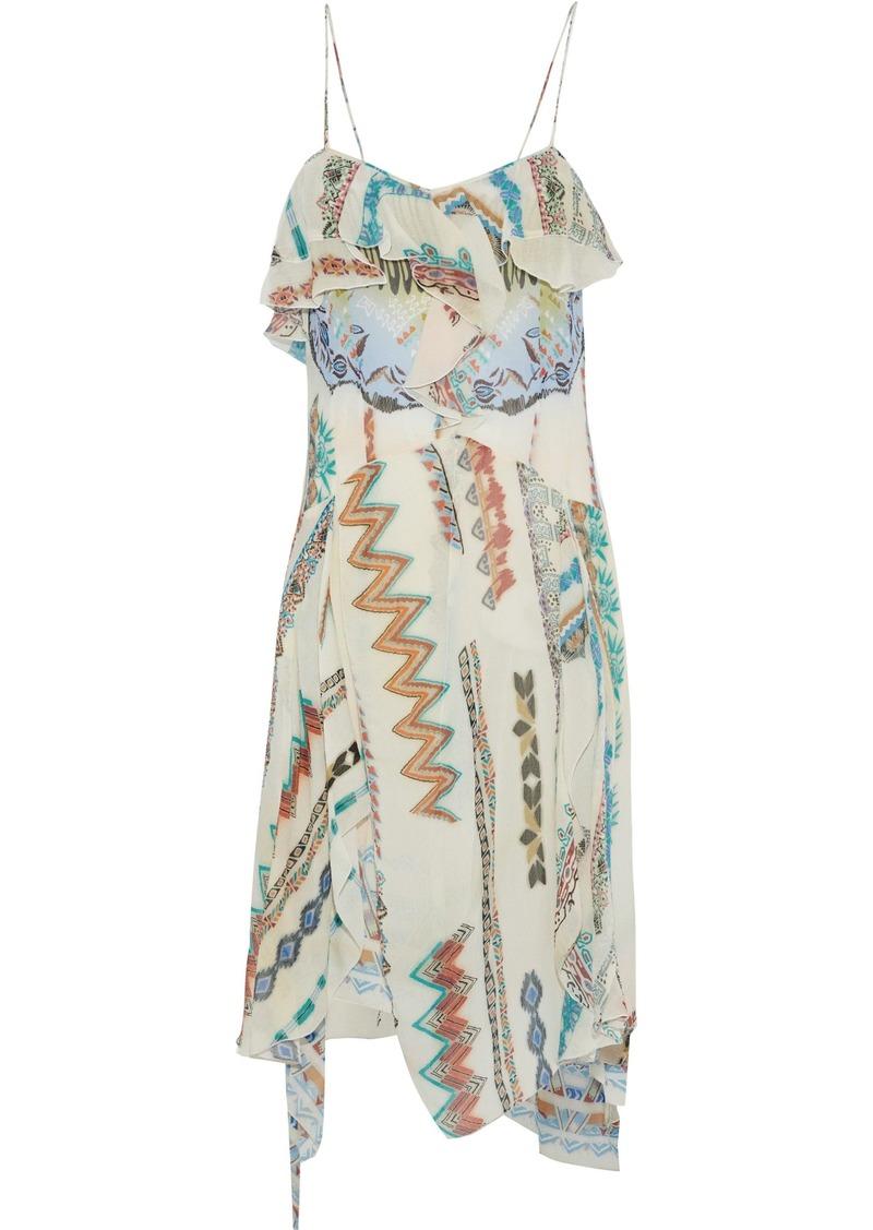Etro Woman Ruffled Printed Silk-gauze Dress Multicolor