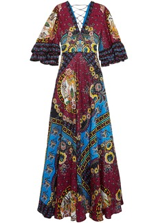 Etro Woman Ruffled Silk-jacquard And Printed Crepe De Chine Maxi Dress Multicolor
