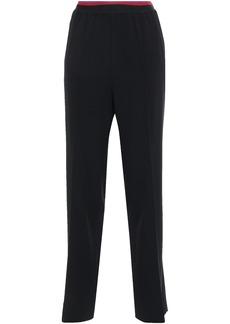 Etro Woman Satin-trimmed Crepe Straight-leg Pants Black