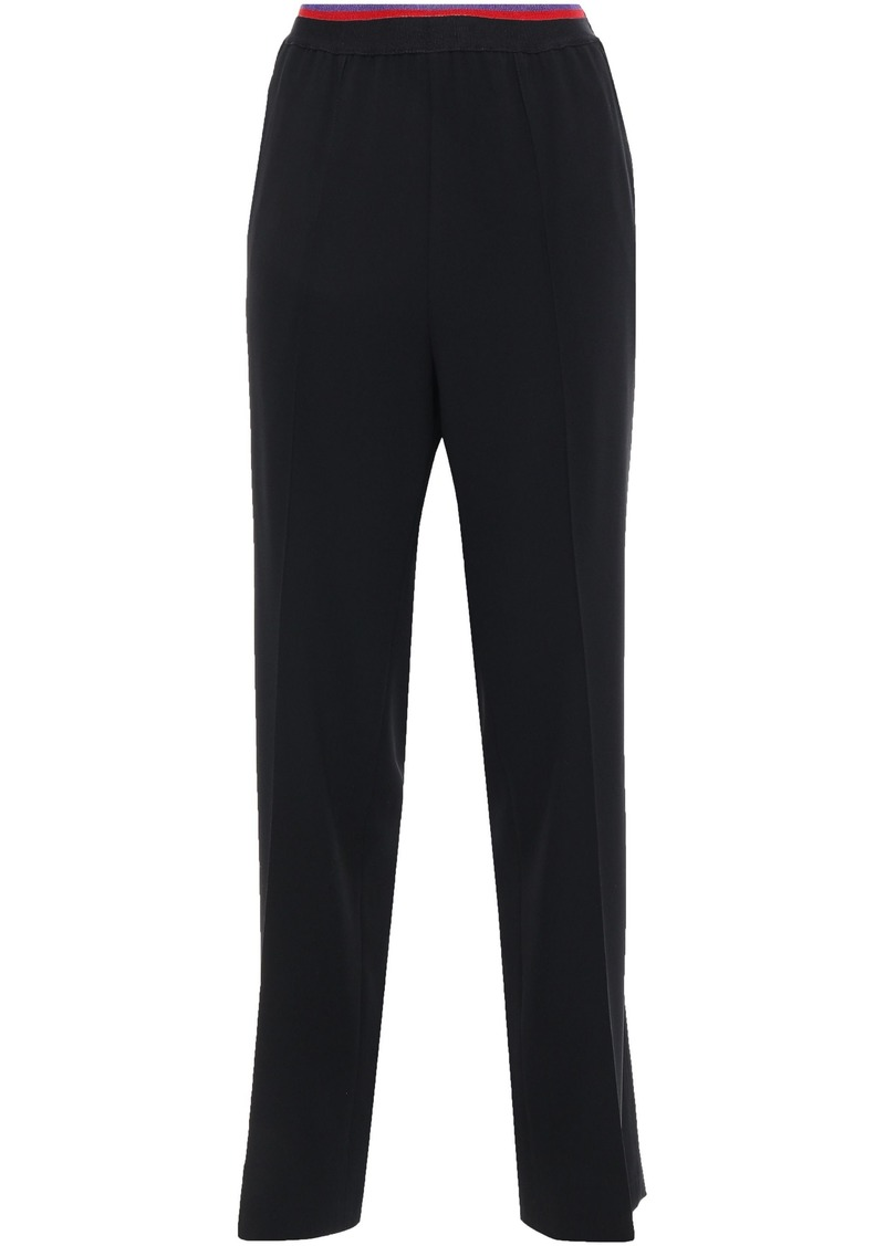 Etro Woman Satin-trimmed Crepe Straight-leg Pants Black