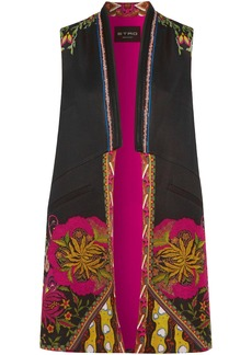 Etro Woman Satin-trimmed Printed Faille Vest Black