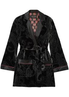 Etro Woman Satin-trimmed Printed Velvet Jacket Black