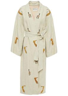 Etro Woman Sequin-embellished Embroidered Linen Kimono Ecru
