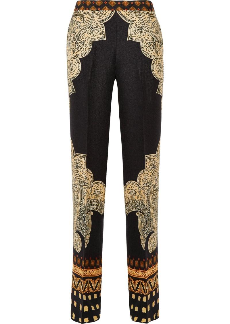 Etro Woman Silk-cloqué Wide-leg Pants Black
