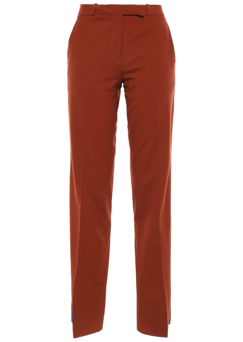Etro Woman Striped Wool-blend Straight-leg Pants Brown