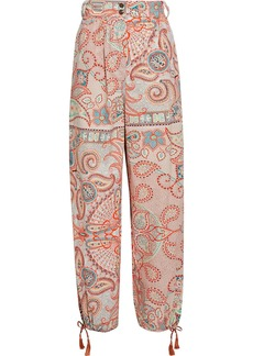 Etro Woman Tasseled Printed Cotton-broadcloth Tapered Pants Coral