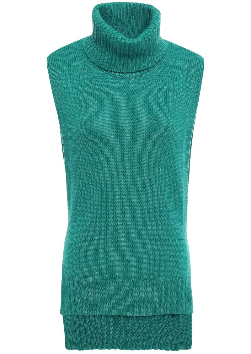 Etro Woman Tie-back Knitted Turtleneck Vest Jade