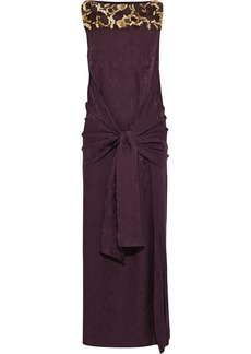 Etro Woman Tie-front Embellished Silk-jacquard Gown Burgundy