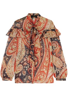 Etro Woman Tie-neck Printed Fil Coupé Silk-blend Chiffon Blouse Brick