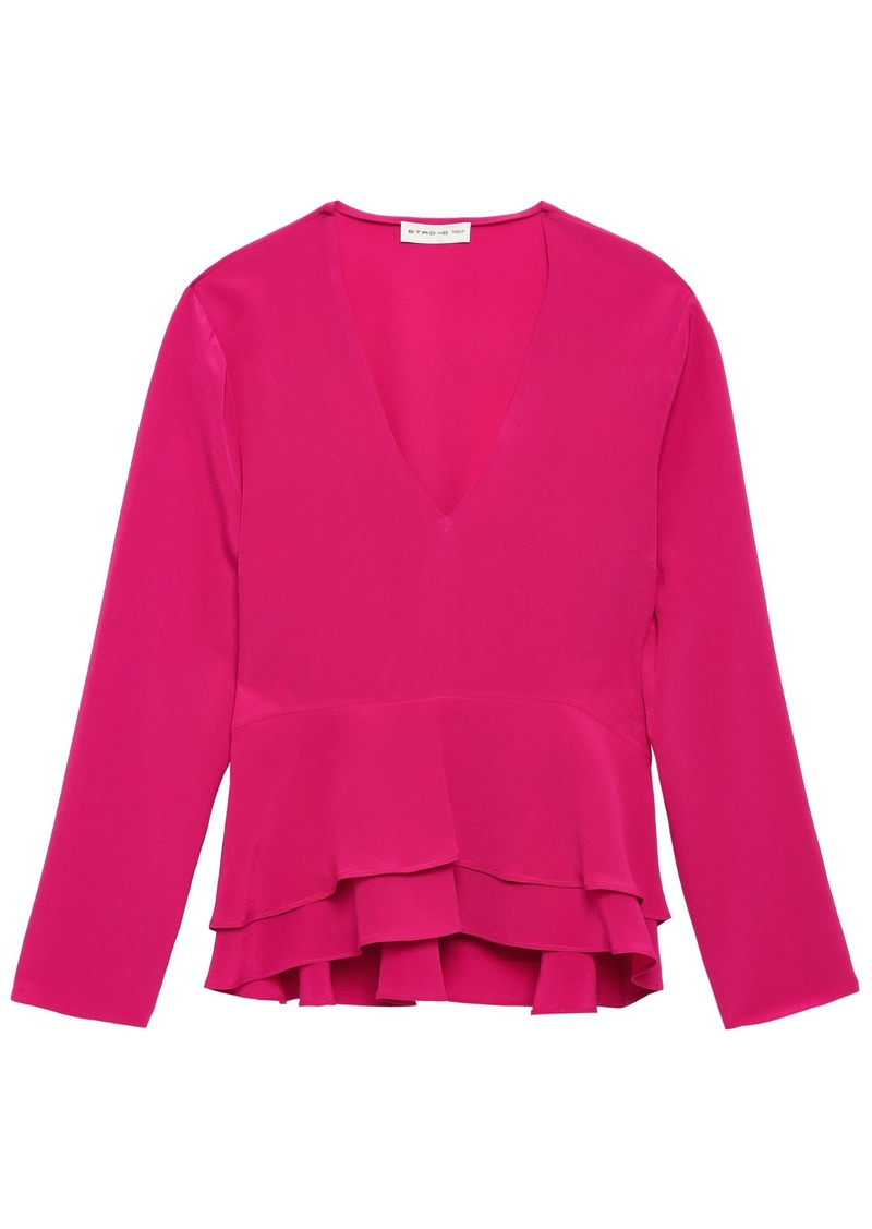 Etro Woman Tiered Silk Crepe De Chine Blouse Fuchsia