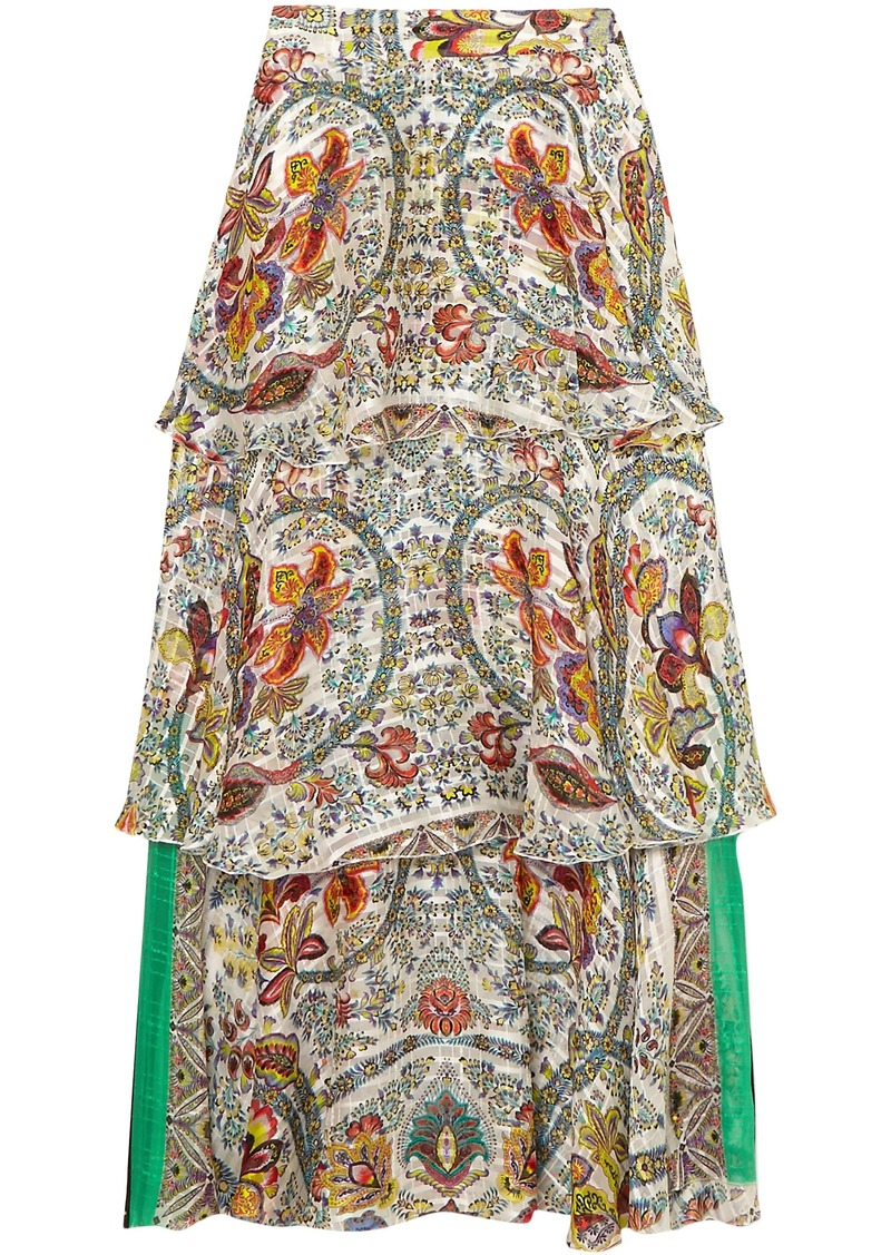 Etro Woman Tiered Silk-jacquard Maxi Skirt White