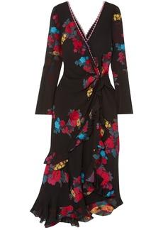 Etro Woman Twist-back Ruffled Asymmetric Silk-blend Jacquard Midi Dress Black