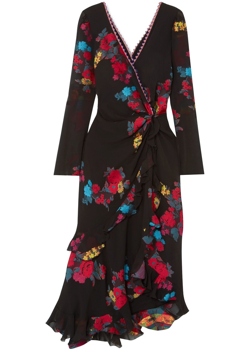 Etro Woman Twist-back Ruffled Asymmetric Silk-blend Jacquard Midi Dress Black