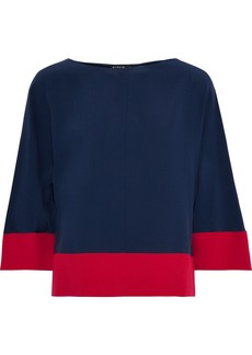 Etro Woman Two-tone Silk Crepe De Chine Blouse Navy