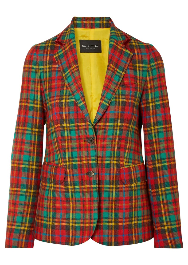 Etro Woman Velvet-trimmed Tartan Wool Blazer Red