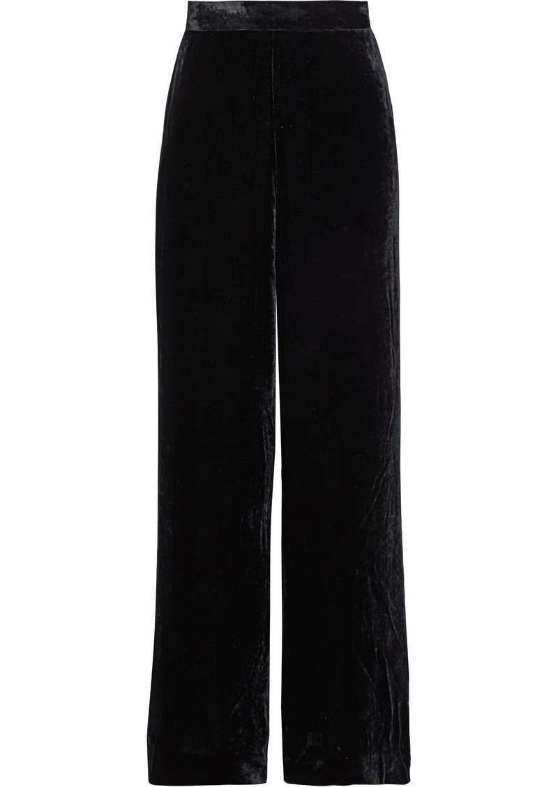 Etro Woman Velvet Wide-leg Pants Black