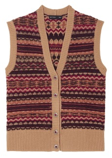 Etro Woman Intarsia Wool-blend Vest Tan