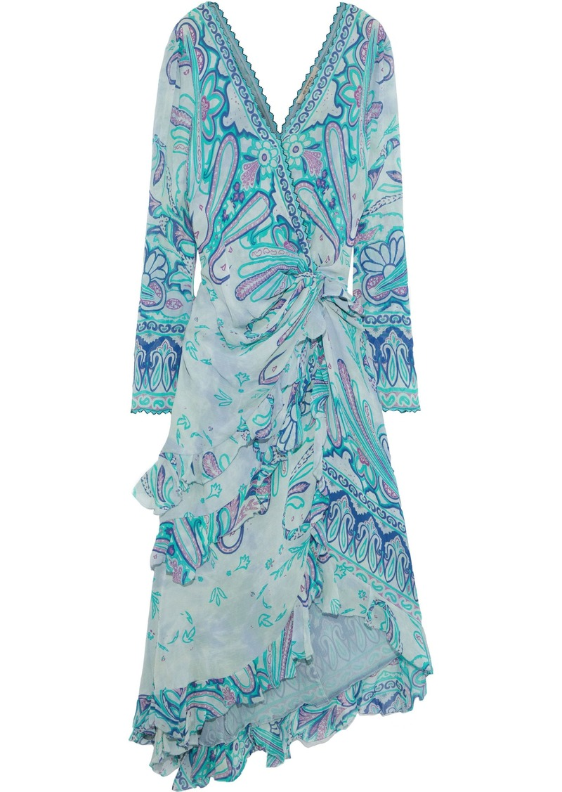 Etro Woman Wrap-effect Embellished Printed Silk-georgette Midi Dress Jade