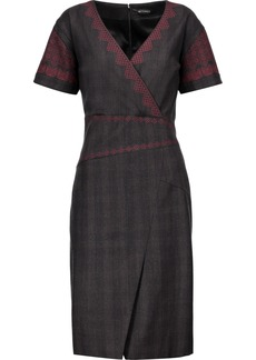 Etro Woman Embroidered Stretch-wool Dress Dark Gray