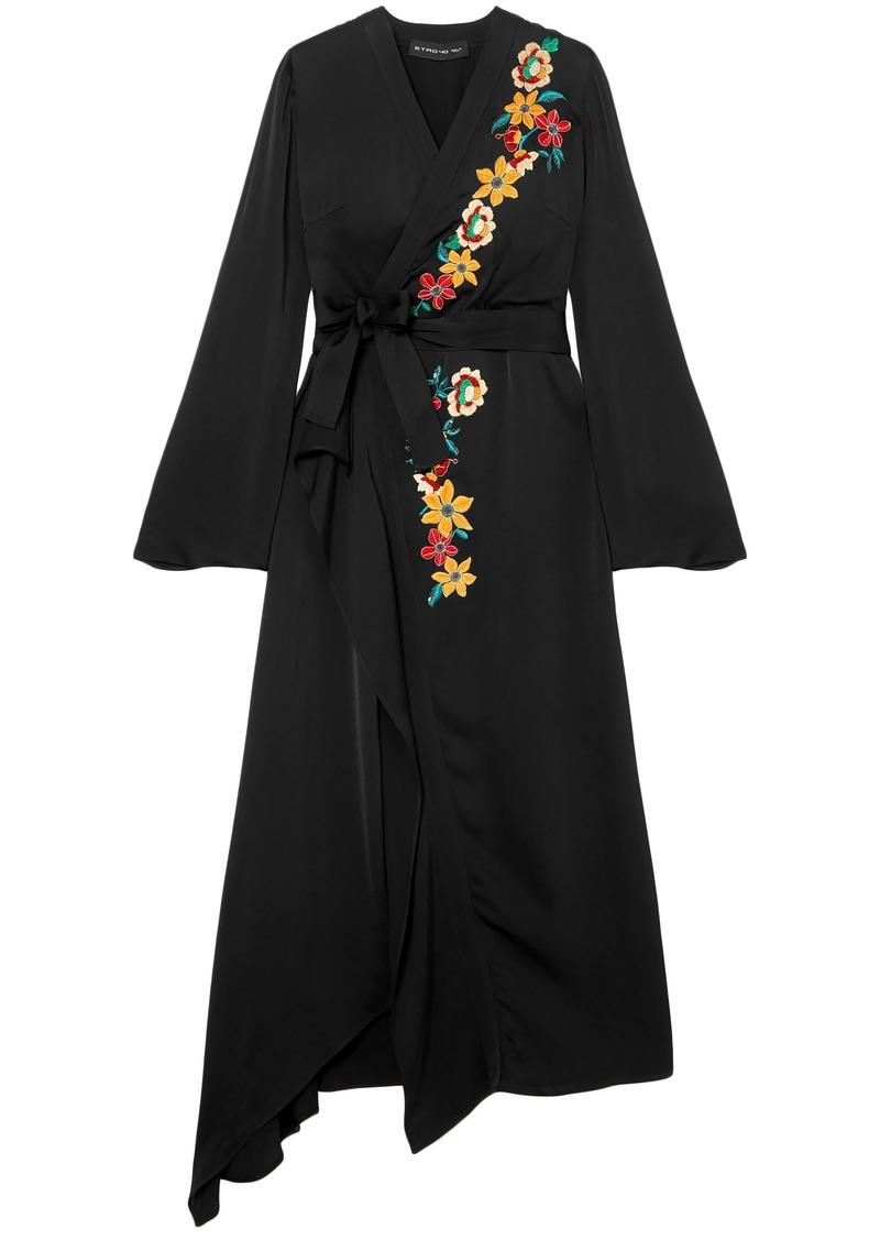 Etro Woman Wrap-effect Embroidered Satin Midi Dress Black